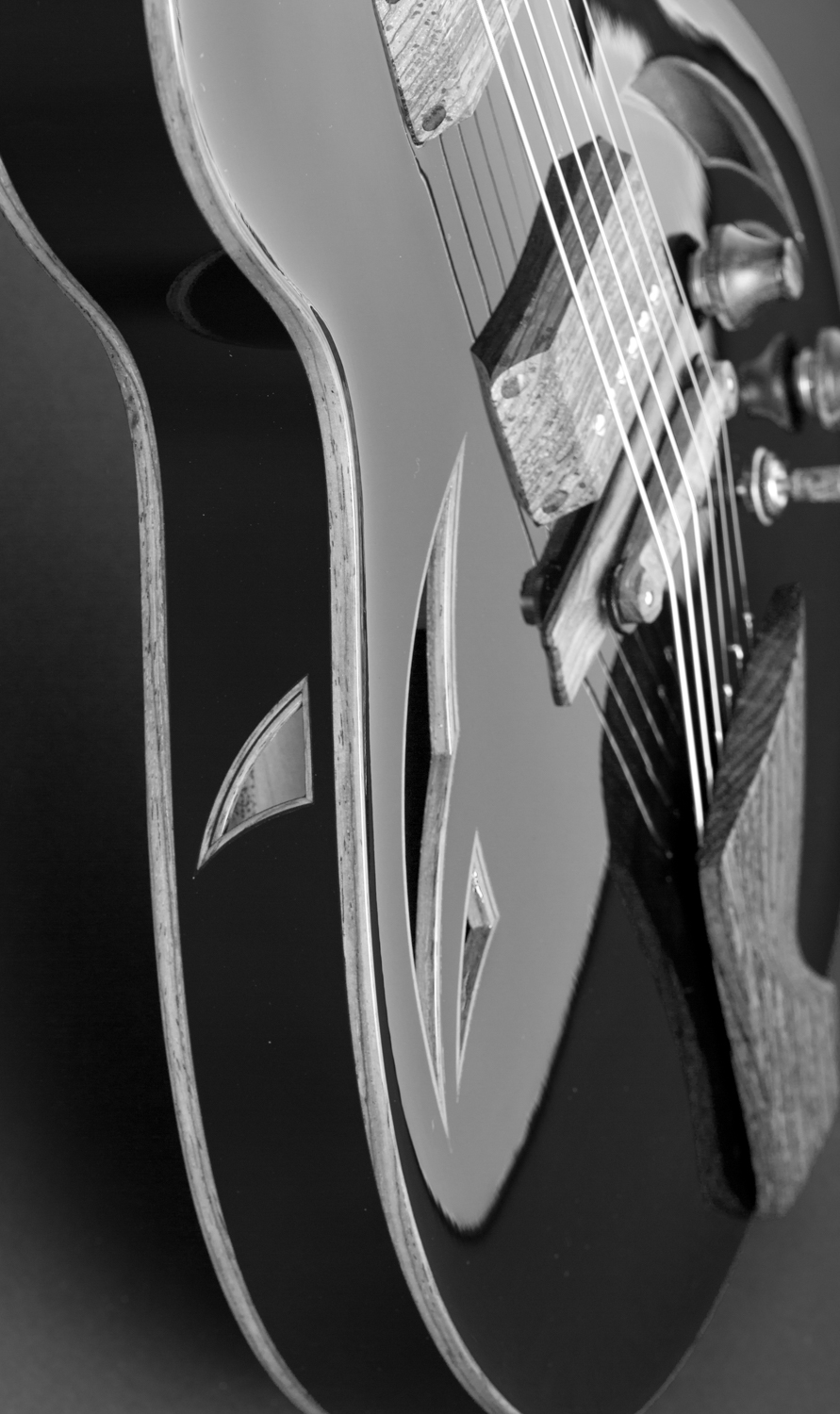 Product photography of guitar in studio