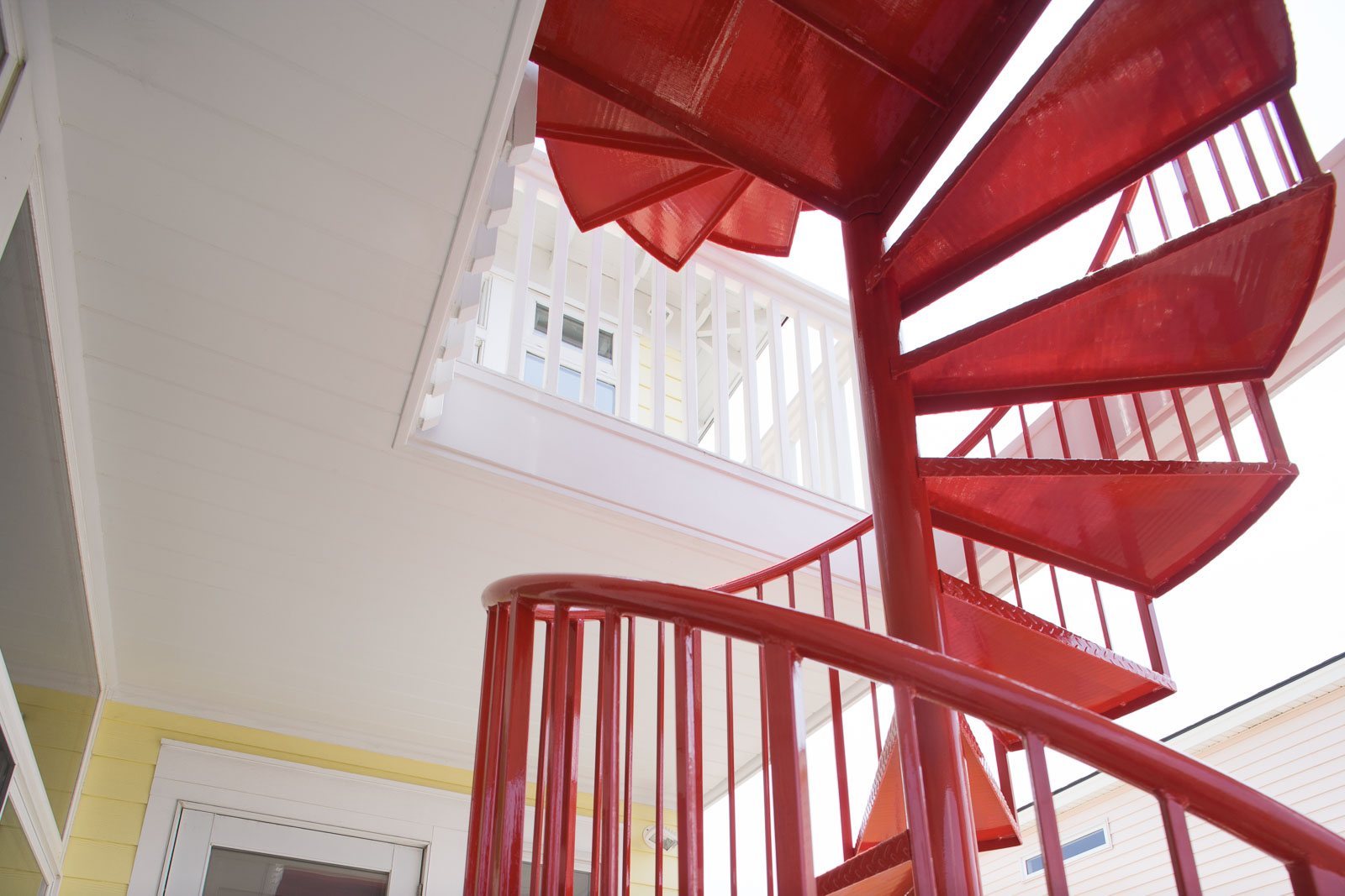 Red Interior stairway architecture photography shoot